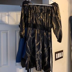 Guess black and gold chain dress